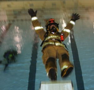 Drownproofing turnout gear training